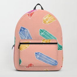Crystals pattern - Living Coral Backpack