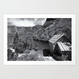 Crater Lake Boatshed Black and White Art Print