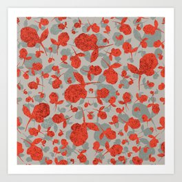 Red and Gray Floral Pattern Art Print