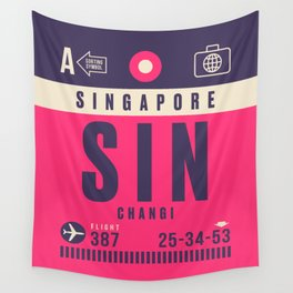 Retro Airline Luggage Tag - SIN Singapore Changi Wall Tapestry