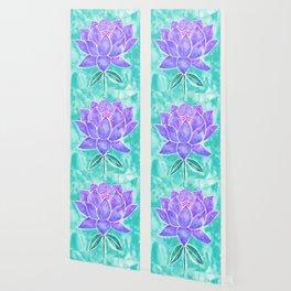 Sacred Lotus – Lavender Blossom on Mint Palette Wallpaper