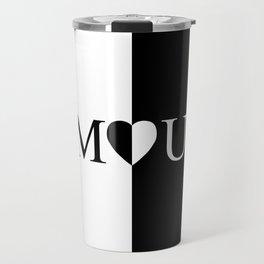 AMOUR LOVE Black And White Design Travel Mug
