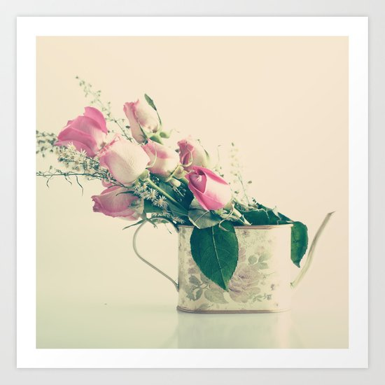 Shabby Chic Roses - Retro Vintage Pink Floral Photography on beige background Art Print