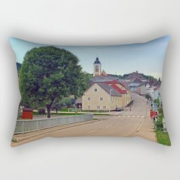 Bridge into the village center | landscape photography Rectangular Pillow