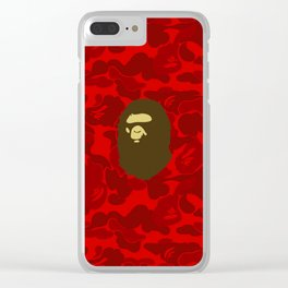 BAPE APE ON RED Clear iPhone Case