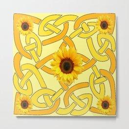 Decorative Yellow Sunflowers Celtic Pattern Art Metal Print