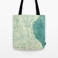 milwaukee Tote Bags featuring Milwaukee Map Blue Vintage by City Art Posters