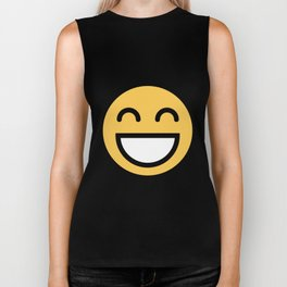 Smiley Face      Cute Grinning With Smiling Eyes And Happy Face Biker Tank