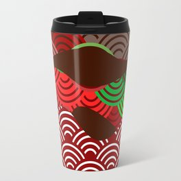 scales simple Nature background with japanese wave circle pattern dark brown burgundy maroon green Travel Mug