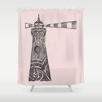 lighthouse Shower Curtains featuring Lighthouse by Hinterlund