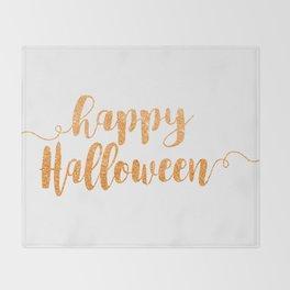 Happy Halloween | Orange Glitter Throw Blanket