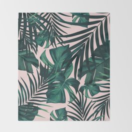 Tropical Jungle Leaves Pattern #5 #tropical #decor #art #society6 Throw Blanket