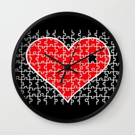 REVERSE PUZZLE HEART Wall Clock