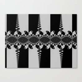 Black and Silver Fractal Canvas Print