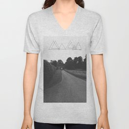 Uneven Sky Over an English Roadway Unisex V-Neck