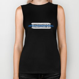WA Washington State Police Gift for Policeman, Cop or State Trooper Thin Blue Line Biker Tank