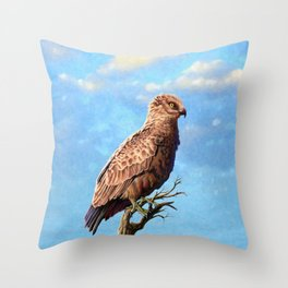 Brown Snake Eagle Throw Pillow