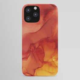 Red Sunset Abstract Ink Painting Red Orange Yellow Flame iPhone Case