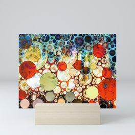 Abstract Retro Blue Orange Bubble Design Mini Art Print
