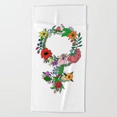 Feminist flower in color Beach Towel
