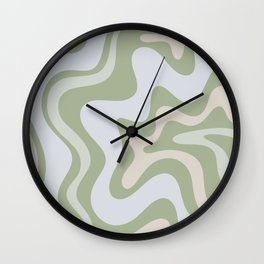 Liquid Swirl Contemporary Abstract Pattern in Light Sage Green Wall Clock