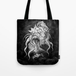 Dark Side Japanese Dragon portrait on black background | Graphit Tote Bag