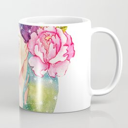 Unearthly supernatural girl with space in the hair. Virgo constellation. Coffee Mug