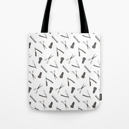 Barbershop pattern shaving razor, brushes and scissors on white Tote Bag