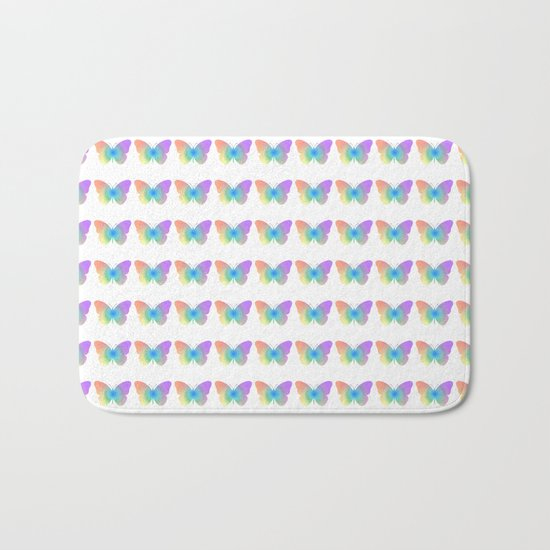 Pastel rainbow butterfly Bath Mat