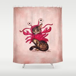 """""""The Lobster"""" by Amber Marine ~ Tabby Cat in Lobster Costume, Watercolor and Ink, (c) 2015 Shower Curtain"""