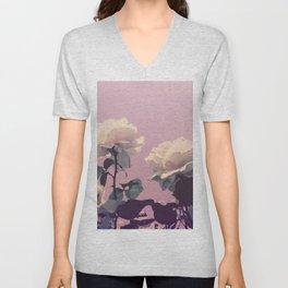 Vintage Spring Pearl White Roses Lavender Sky Unisex V-Neck