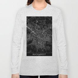 Bucharest Black Map Long Sleeve T-shirt