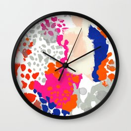 Mica - bright happy abstract painting trendy color palette modern home decor nursery art Wall Clock