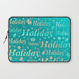 shiny font happy holidays in mint blue Laptop Sleeve