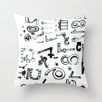 typo Throw Pillows featuring TYPO CHAOS by Michela Buttignol