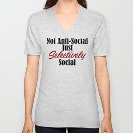 Anti Social Selectively Funny Stupid People Stupidity Unisex V-Neck