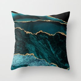 Teal Blue Emerald Marble Landscapes Throw Pillow