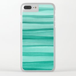 Green Watercolor Lines Pattern Clear iPhone Case