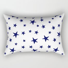 Stars - Navy Blue on White Rectangular Pillow
