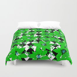 POINSETTIAS AND HARLEQUINS GREEN AND BLACK Duvet Cover