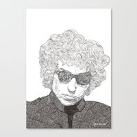 bob dylan Canvas Prints featuring Bob Dylan  by Caitlin Dyas