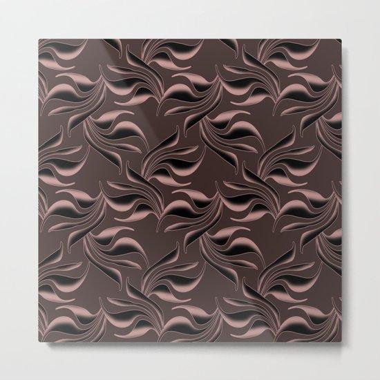 Satin swirls on brown background. Metal Print