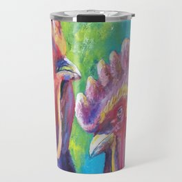 Colorful Roosters Travel Mug
