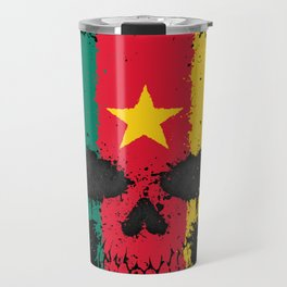Flag of Cameroon on a Chaotic Splatter Skull Travel Mug