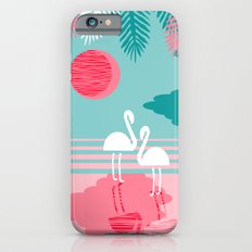 Chill Vibes - memphis retro throwback 1980s 80s neon pop art flamingo paradise socal vacation  iPhone 6s Slim Case