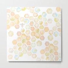 Bee and honeycomb watercolor Metal Print