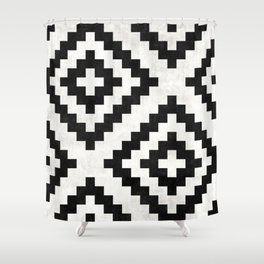Urban Tribal Pattern No.18 - Aztec - Black and White Concrete Shower Curtain