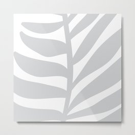 Palm Frond in Gray Metal Print