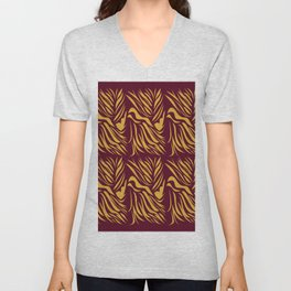 Design lines wild tiger Chocolate Unisex V-Neck