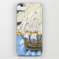 pirate ship iPhone & iPod Skins featuring Pirate Ship At Sea by J&C Creations